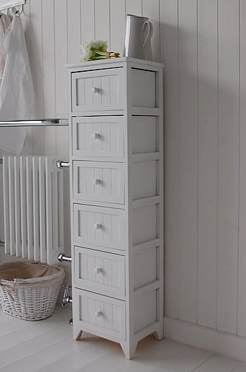 Maine Narrow Tall Freestanding Bathroom Cabinet With 6 Drawers For Storage Freestanding Bathroom Cabinet White Bathroom Furniture Bathroom Freestanding