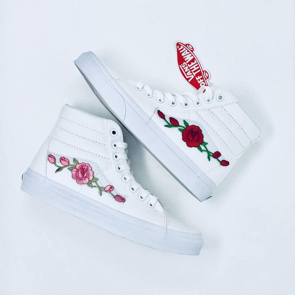 200f14282c2b Custom Vans Rose Vans Hightop Vans Custom Rose Vans Rose Custom Vans... (