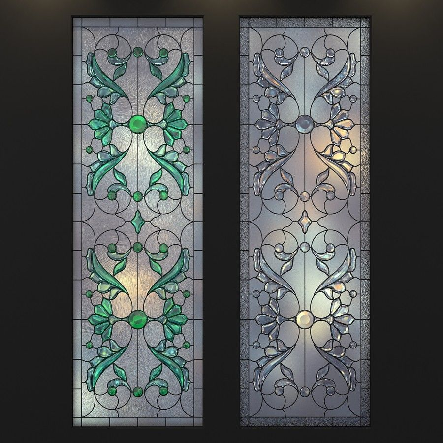 22d model stained glass frosted glass  Stained glass door, Door