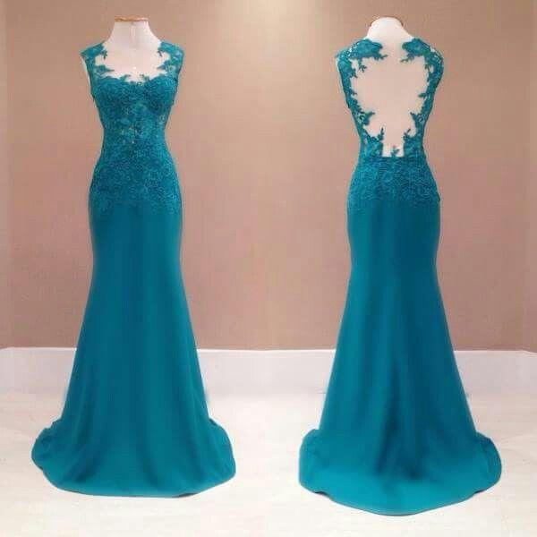 فستان انيق تركوازي اللون غاية في الجمال Lace Dress Long Dresses Backless Dress Formal