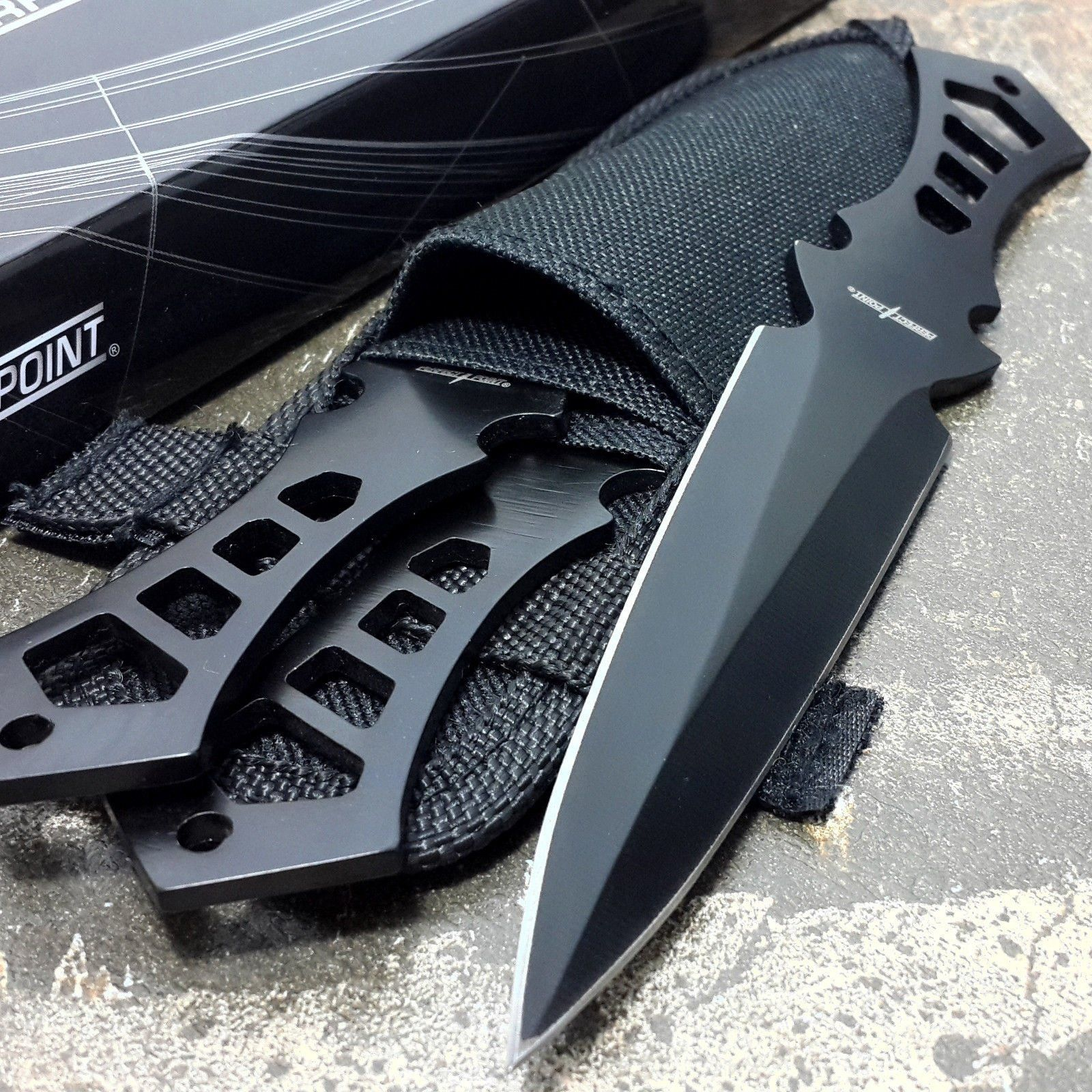 PERFECT POINT 3 Pieces THROWING KNIFE Black Ninja Throwers Set Knives Nylon Case. It has a black finished stainless steel blade with cut grip handle. Cut out design handleใ Lanyard hole. Blade Material : Stainless steel. Handle Material : Full tang. Overall Length : 7.50.ม Blade Lenght : 3.75.