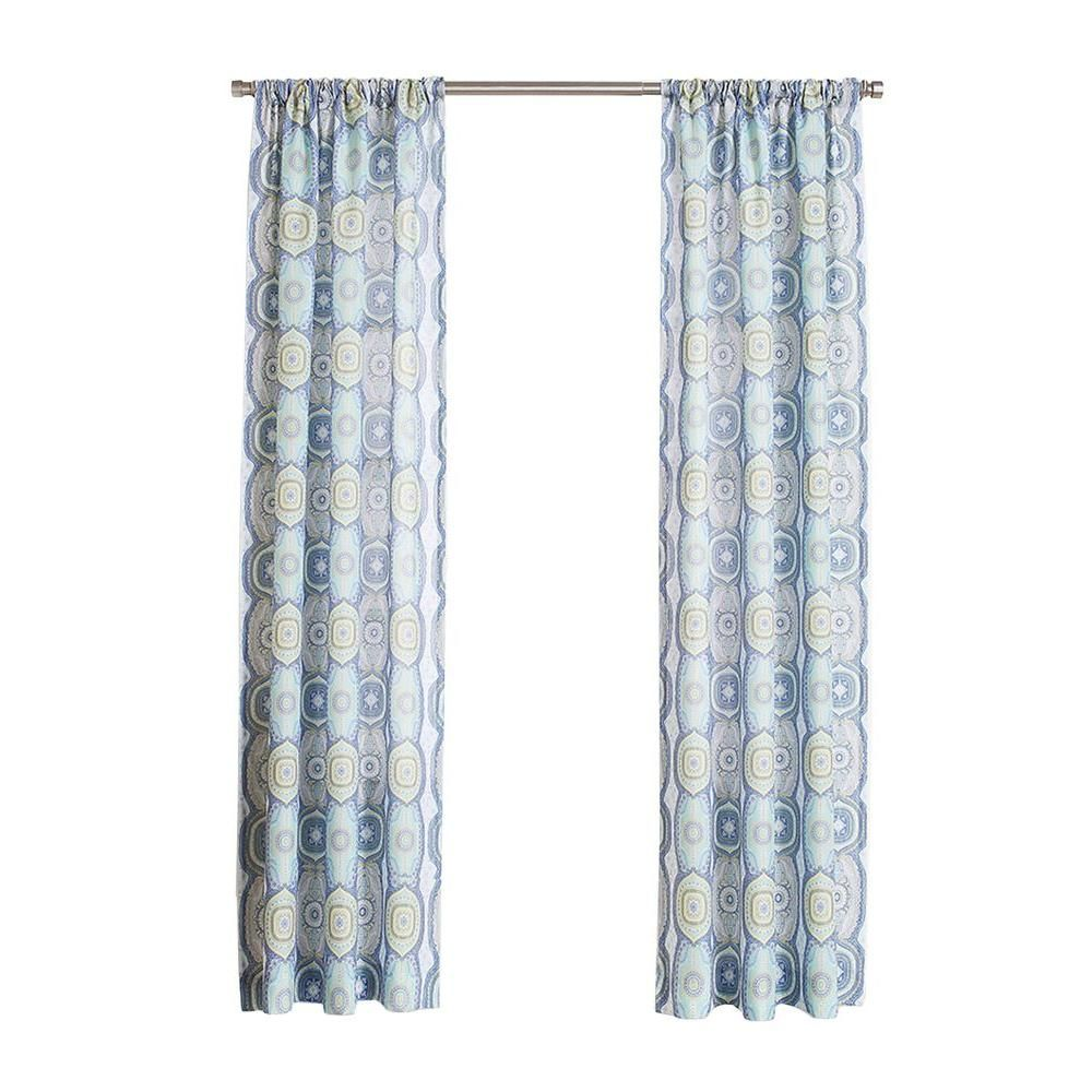 LICHTENBERG Lapis No 918 Millennial Delia Heathered Print Curtain Panel 40 In