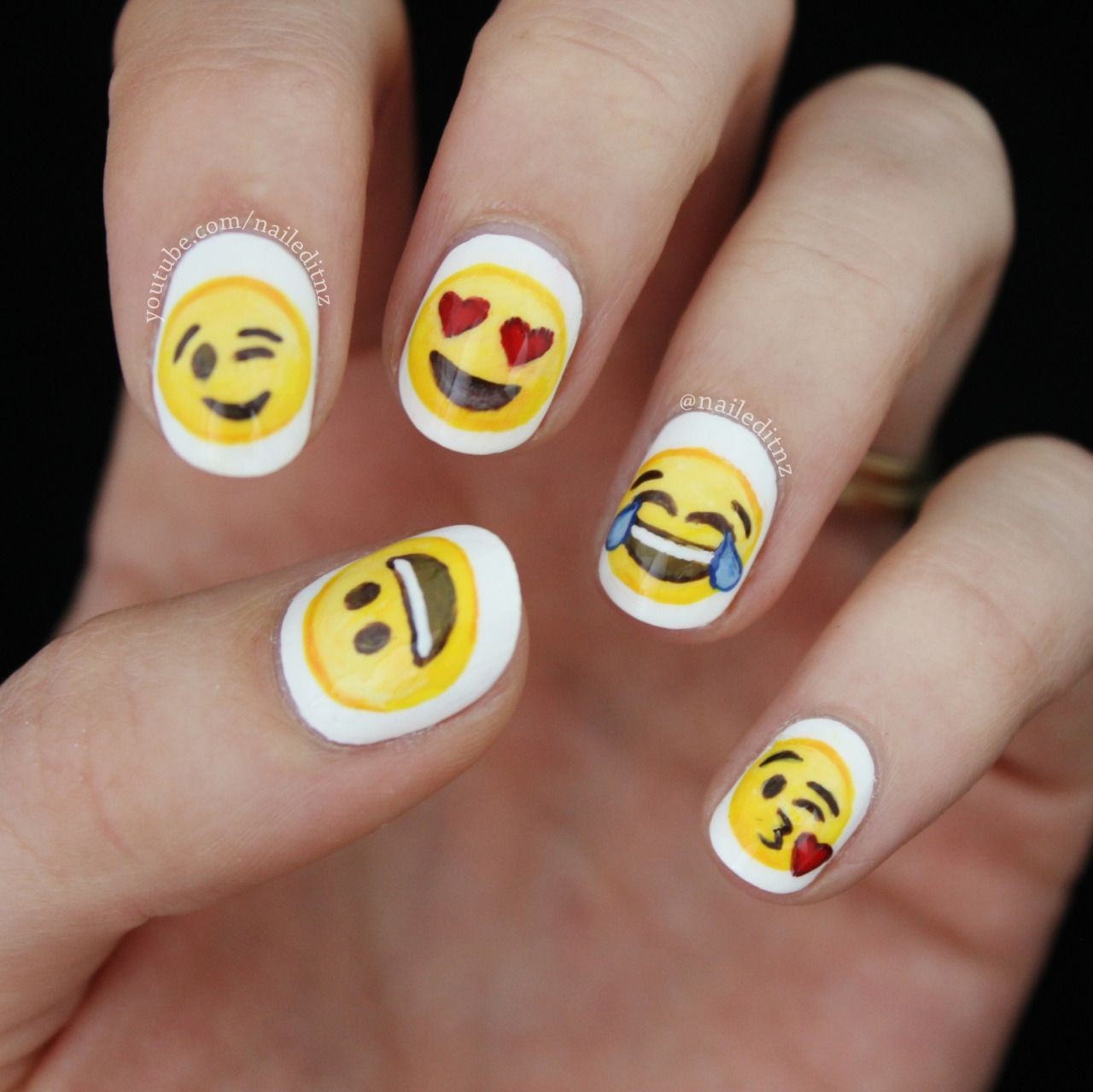 Emoji nail art! So happy with these ones - watch... | Nailed - Emoji Nail Art! So Happy With These Ones - Watch... Nailed It NZ