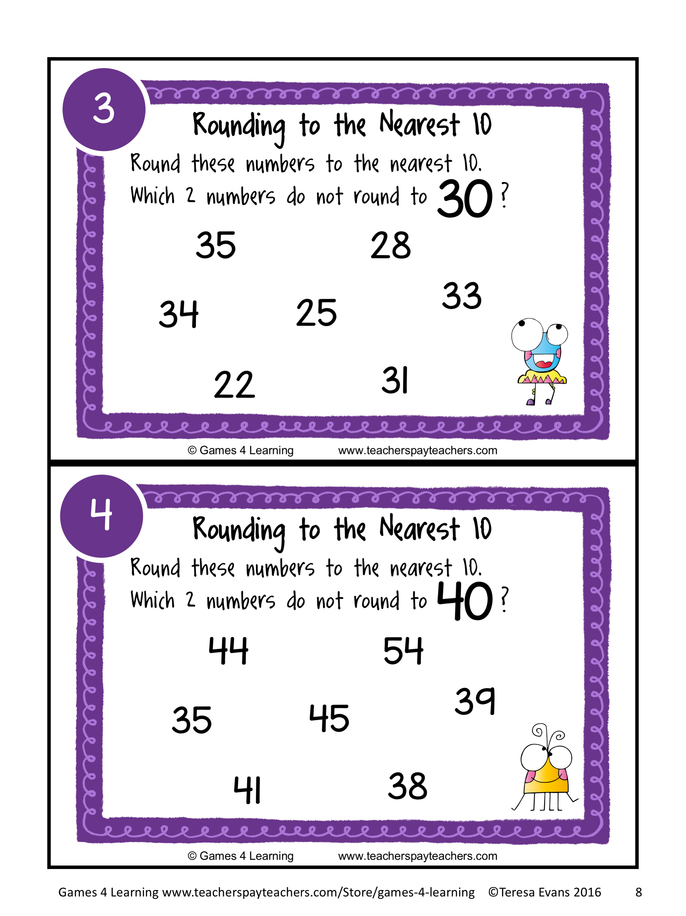 Rounding Numbers To The Nearest 10 Task Cards