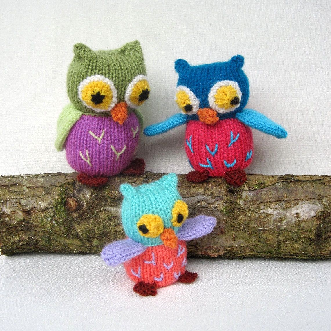 Owl Family - toy animal knitting pattern - PDF INSTANT DOWNLOAD ...