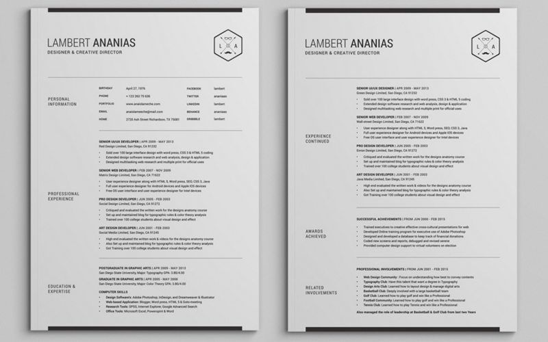 2 Pages Pinterest Sample resume and Template