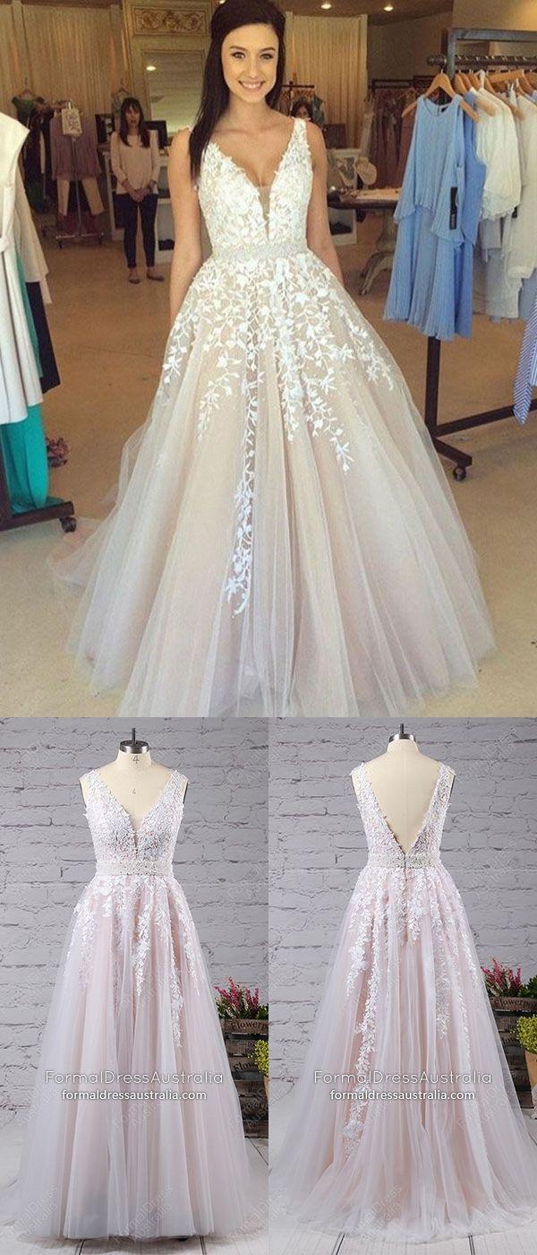 White formal dresses long princess prom dresses vneck tulle