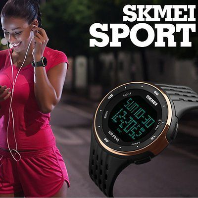 Men Fashion Military Stainless Steel Digital LED Date Sport Quartz Wrist Watch