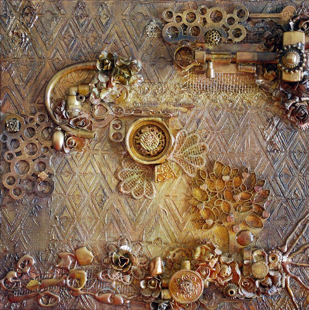 Scrapbook ideas on canvas - Rusty Canvas With Photo Tutorial Scrapbook Com