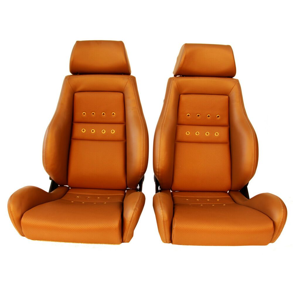 2 jdm recaro lx classic tan leather reclinable solid