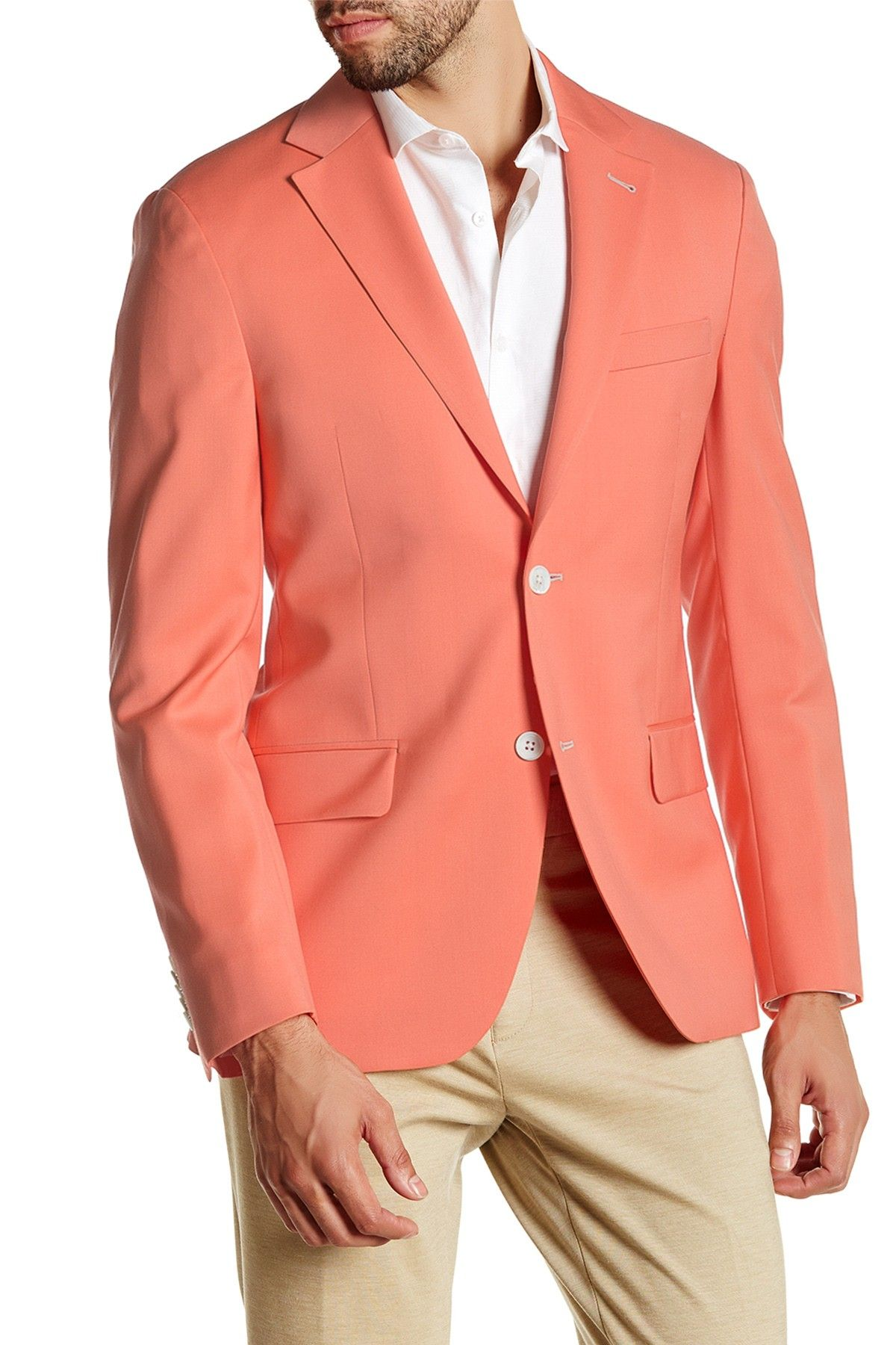 Coral Two Button Notch Lapel Wool Sport Coat