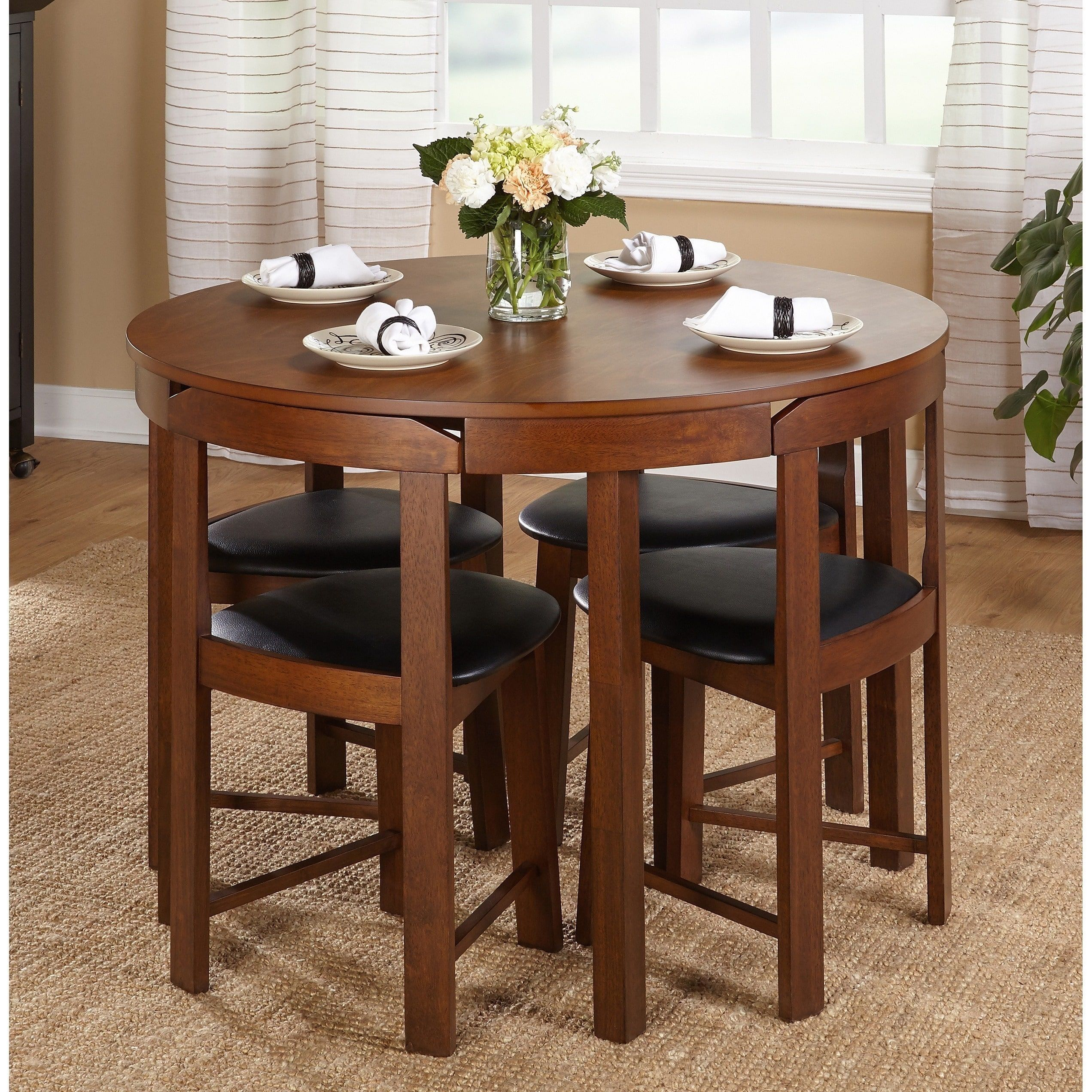 Simple Living 5-piece Tobey Compact Round Dining Set (Walnut/Black ...