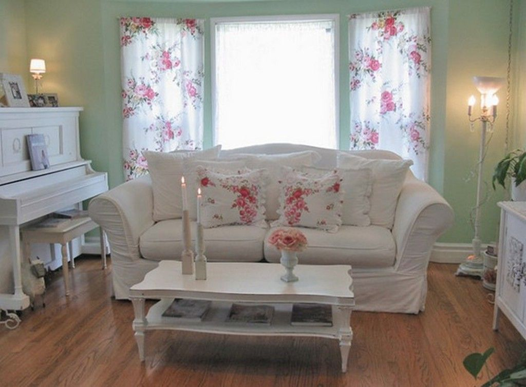 Floral Curtain And Sage Green Wall Color For Shabby Chic Cottage Style Living Room With Comfortable