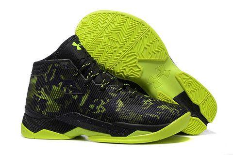 Men\u0027s Under Armour Stephen Curry 2.5 Black Volt Green Basketball Shoes