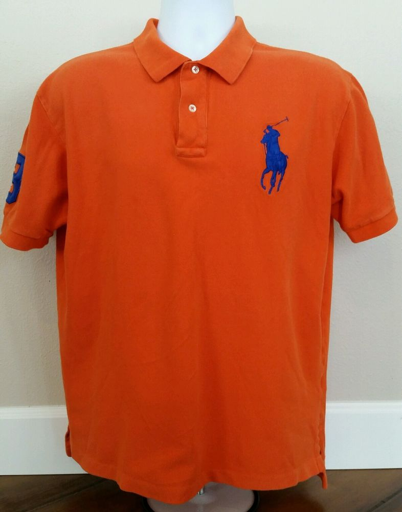 Polo Ralph Lauren (polo Ralph Lauren) big pony polo shirt short sleeves (dark blue orange)