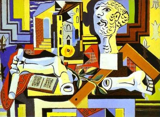 "Pablo Picasso, ""Studio with Plaster Head"" 1925. Cubism example. The Museum of Modern Art, New York."