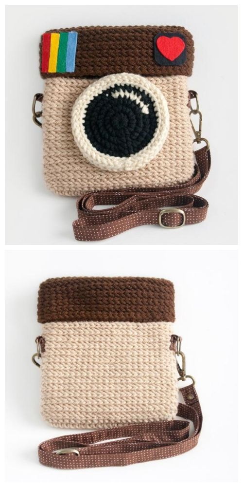 Crochet Instagram Camera Bag Free Crochet Patterns + Video #crochetcamera