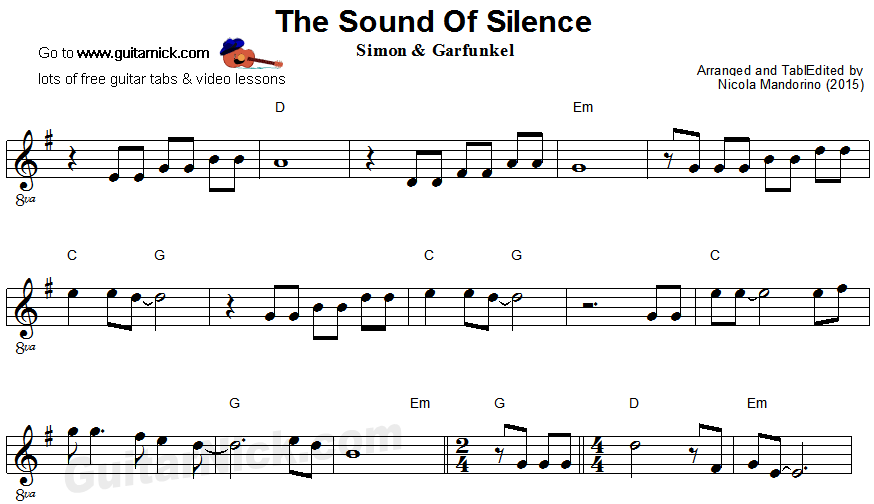 The Sound Of Silence Easy Guitar Sheet Music Easy Guitar Easy Guitar Tabs Guitar Sheet Music