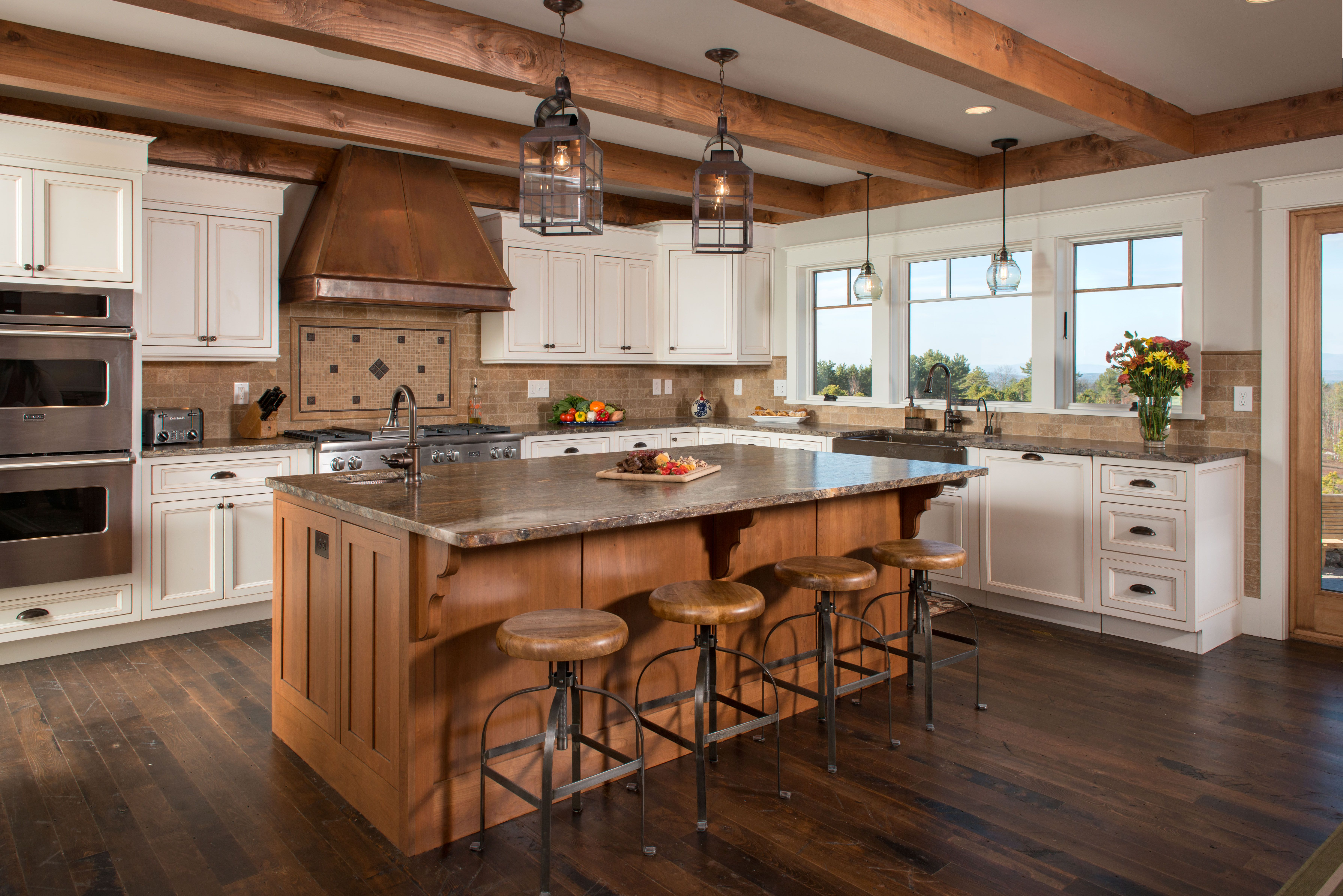 White Cabinets With Med Stain Wood Island Cabinet New Durham Interior Design Kitchen Small Farmhouse Kitchen Design Interior Design Kitchen