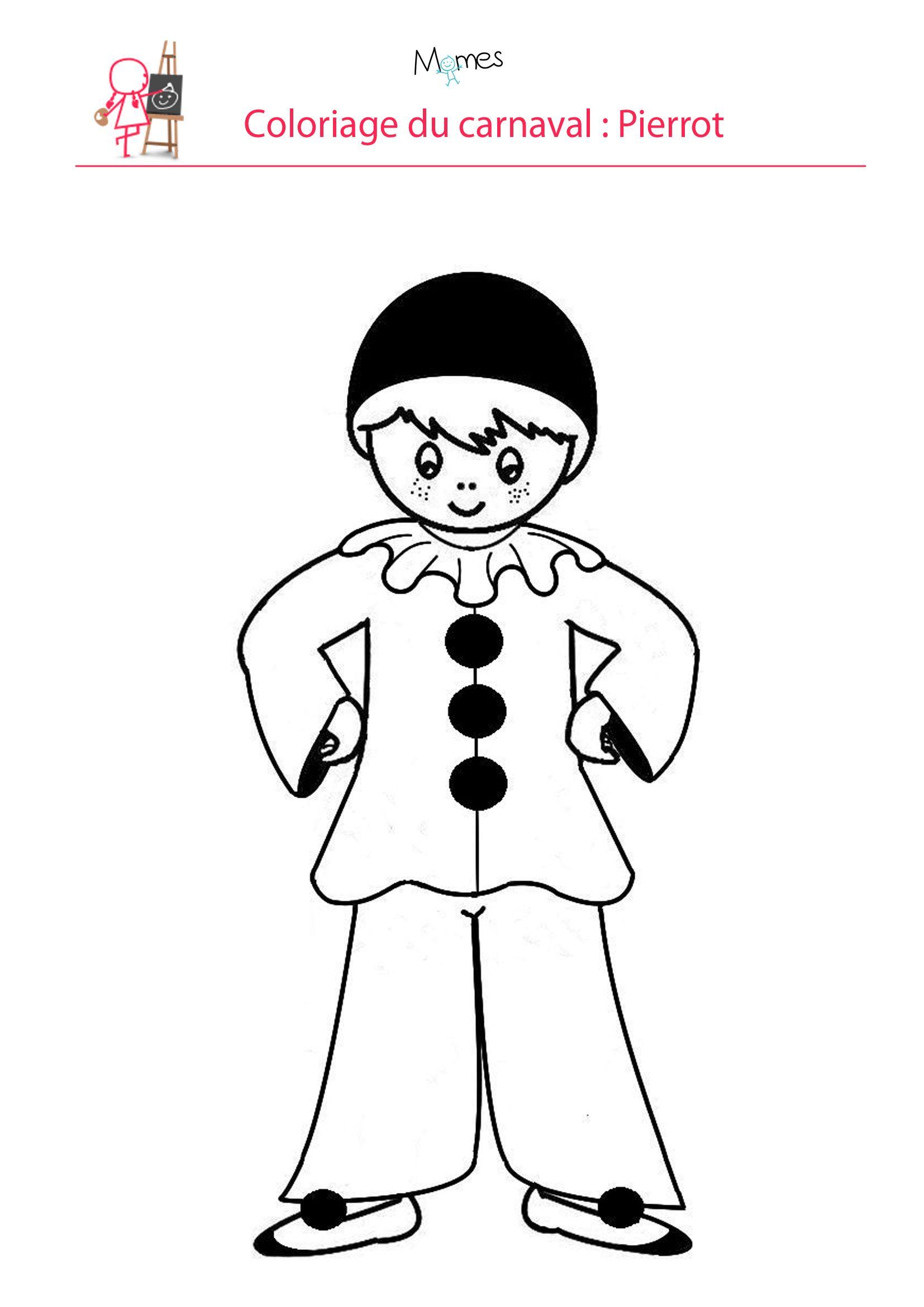 Coloriage Pierrot  Coloriage carnaval, Coloriage, Pierrot