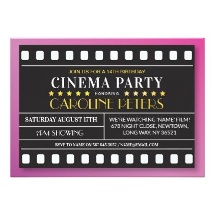 Movie birthday party any age theatre film invite invitation ideas movie birthday party any age theatre film invite solutioingenieria Choice Image