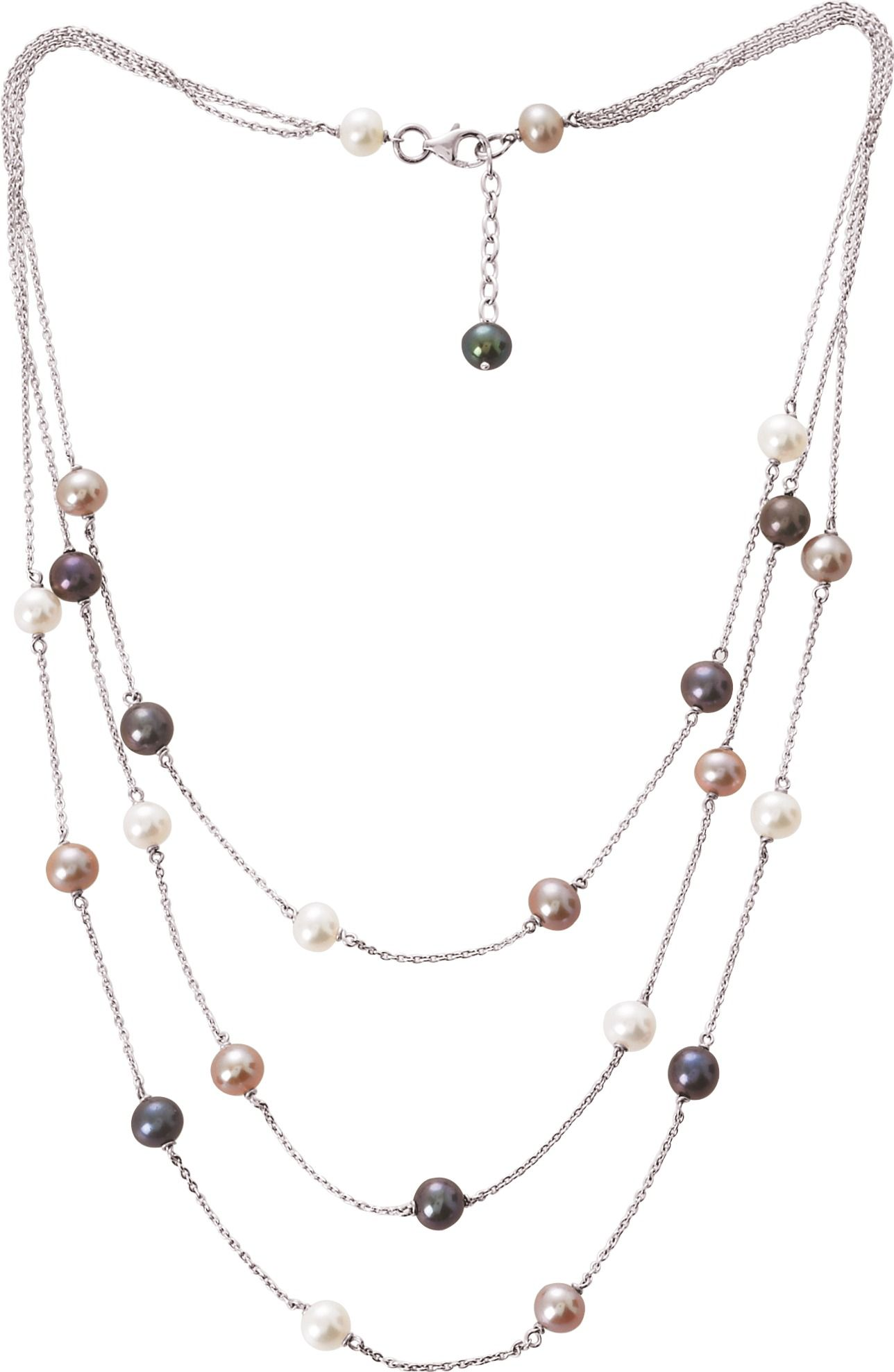 Collier Argent Rhodie Avec Perles De Cultures D Eau Douce 6 Mm