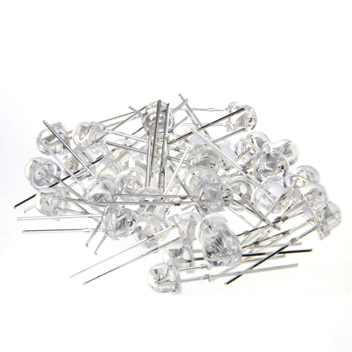 Chanzon 100 Pcs 5mm Yellow Led Diode Lights Clear Straw