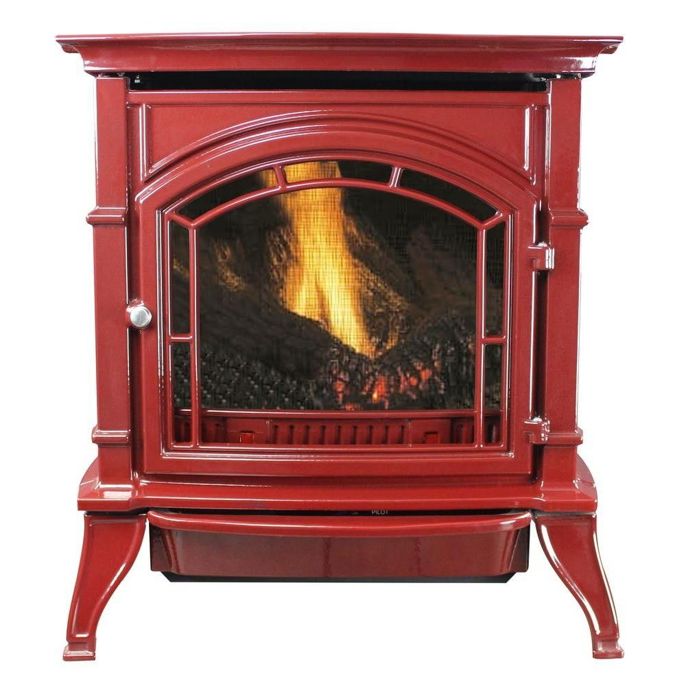 Ashley 31 000 Btu Vent Free Natural Gas Stove Red Enameled Porcelain Cast Iron Propane Stove Natural Gas Stove