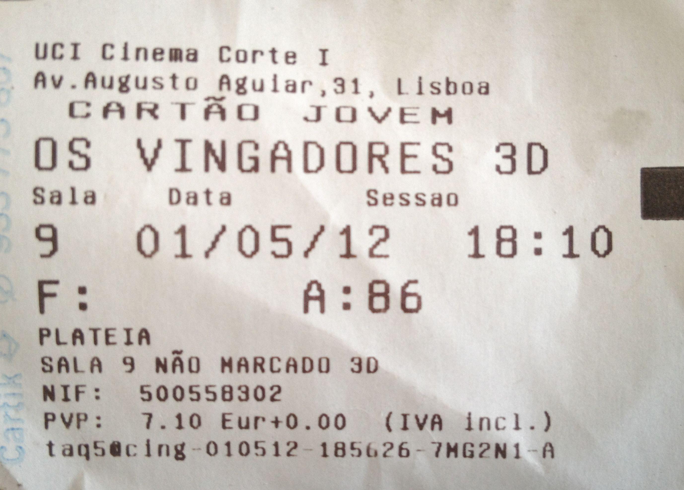 """Cinema: """"Os Vingadores"""" (The Avengers) (3D) @ Cinemas UCI El Corte Ingles, Lisboa a 1 de Maio de 2012."""