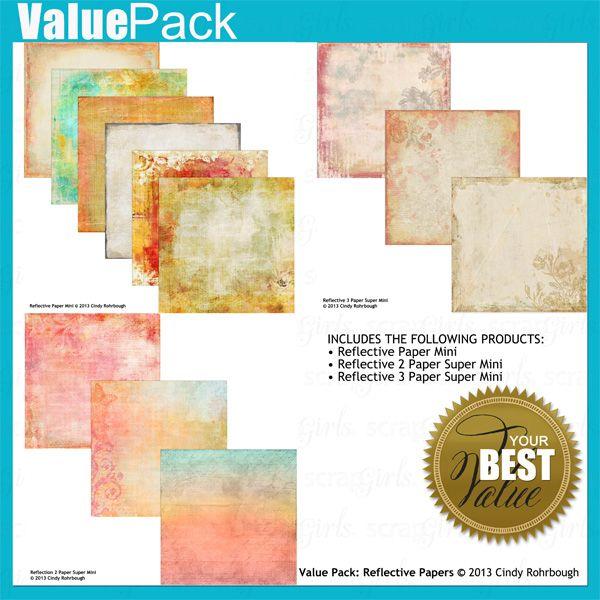Value Pack: Reflective Paper, designed by Cindy Rohrbough, Scrap Girls, LLC digital scrapbooking product designer