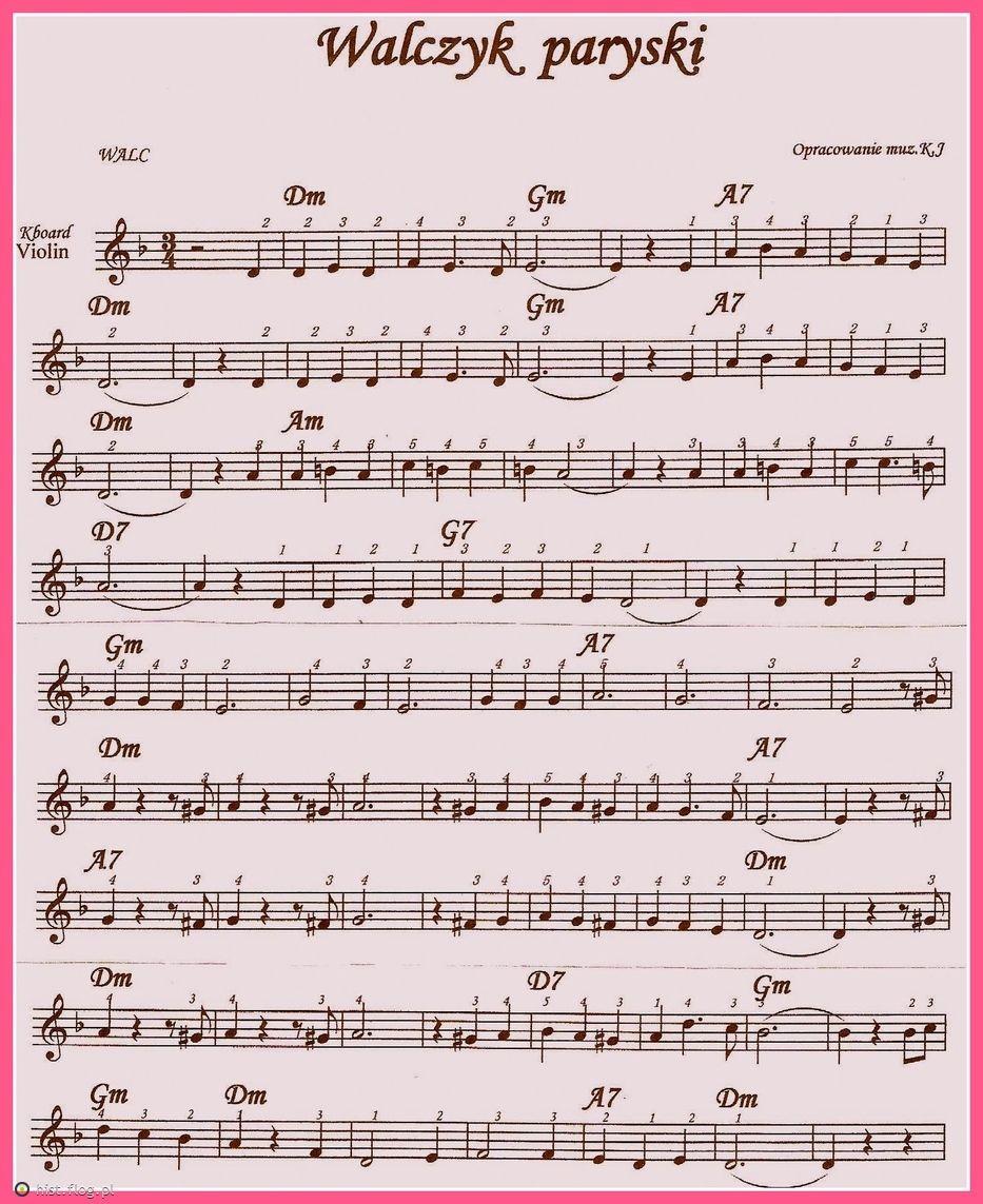 Walczyk Paryski Fotoblog Keyboard Sheet Music Music Notes Lead Sheet
