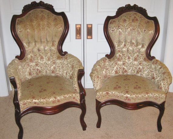 Vintage Victorian King and Queen Chairs These beautifully carved Victorian  style armchairs are upholstered in an - Vintage Victorian King And Queen Chairs These Beautifully Carved