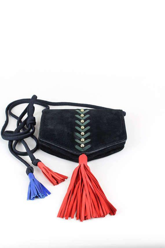 Saint Laurent Ysl Collectible Black Suede Tassel Shoulder Bag Purse, 1980s