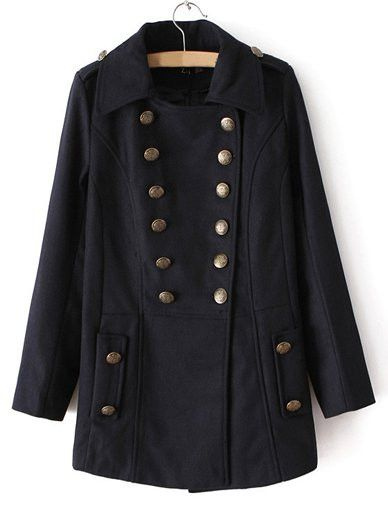 #fashion #accessories Charming Fold Over Collar Wool Coat in Double Breasted   Black by Moda Tendone - WoolCoat Black, Clothes, Fashionable, Women, WoolCoat