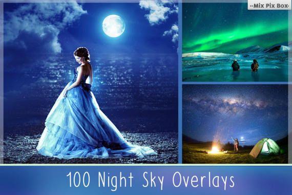 100 Night Sky Overlay Add Starry Sky To Photo Moon Overlays