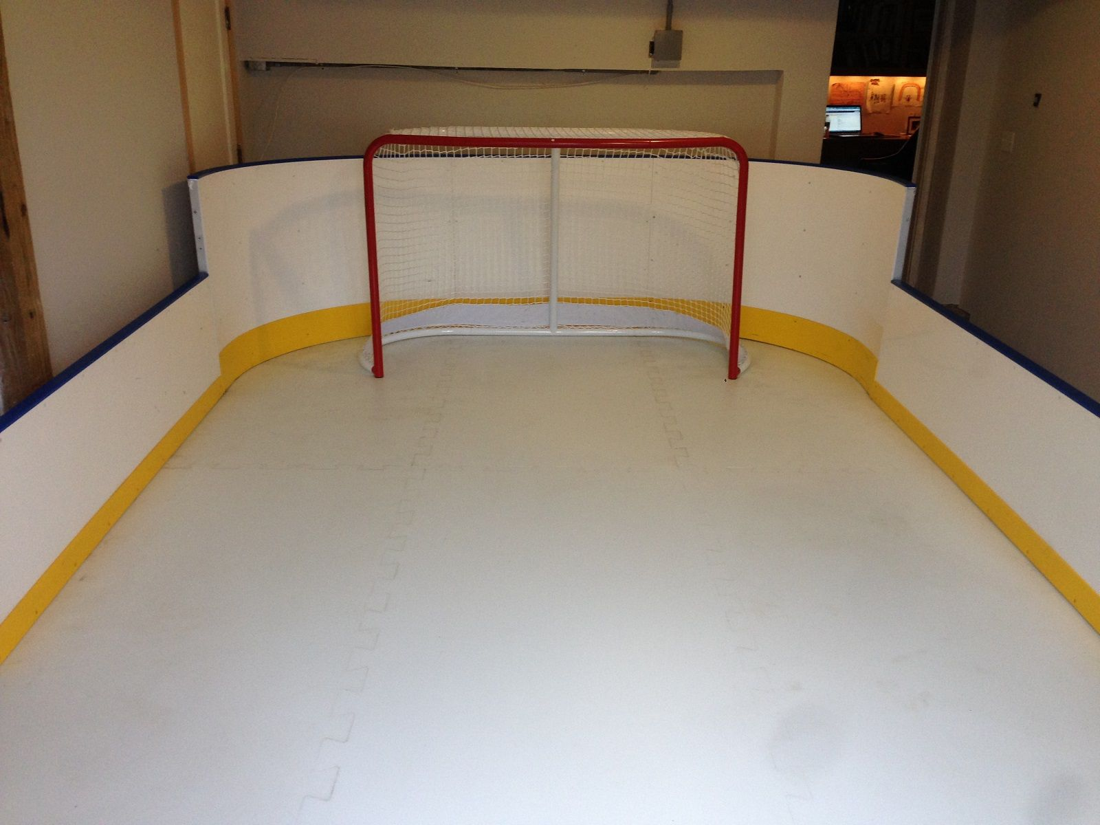 12 X 16 Hockey Rink Boards On 3 Sides Synthetic Ice D1 Backyard Rinks Backyard Rink Backyard Ice Rink Hockey Shot