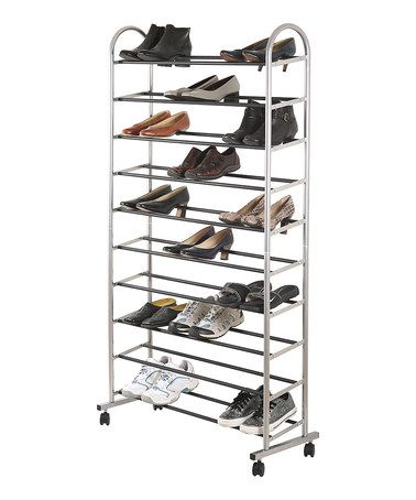 with plenty of space to fashionably store up to 40 pairs this rack is easy to roll and display making it a mobile fashion machine