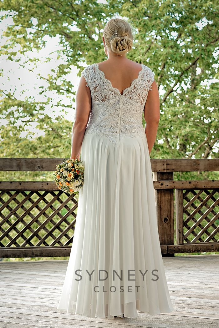 Elegant chiffon and lace plus size wedding gown SC5063