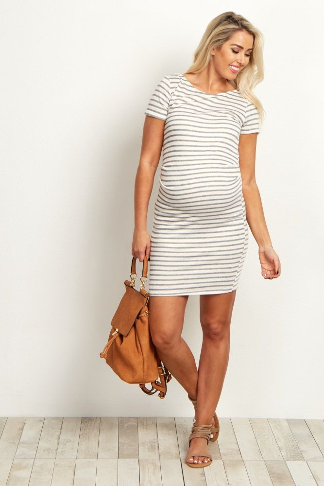 Ivory Grey Striped Fitted Short Sleeve Maternity Dress