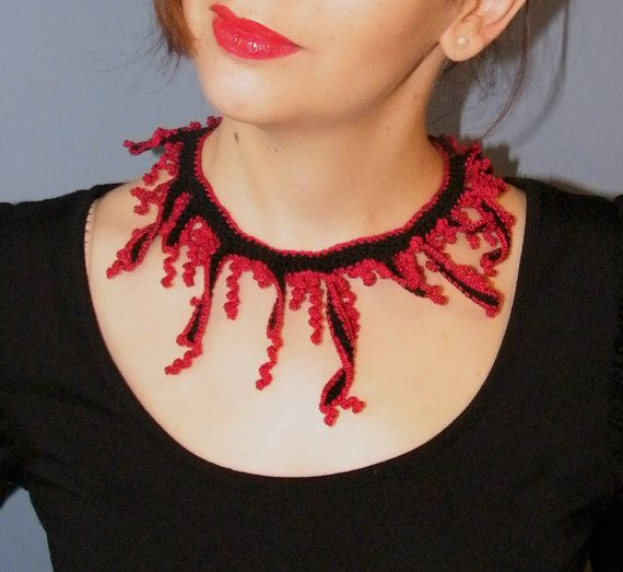 Corals red and black Crochet necklace knitted jewelry by EmporiumO, $49.00