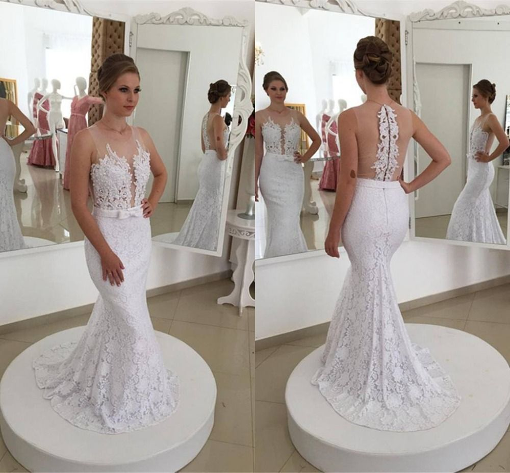 Sexy informal reception mermaid lace wedding dresses see