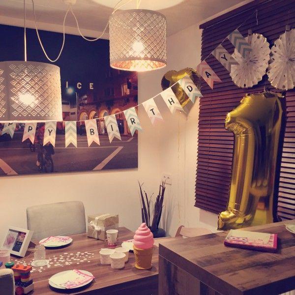 Der erste geburtstag deko rosa gold und chevron the for Geburtstagsdeko junge