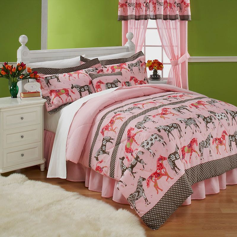 Horse Bedding for Teens | Mustang Sally Horses Pink Bedding Twin ...
