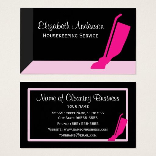 Girly Vacuum Pink And Black Housekeeping Service Business Card Zazzle Com Cleaning Business Cards Business Cards Housekeeping