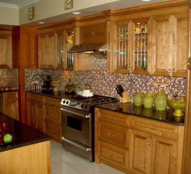 Glass Tile Backsplash With Oak Cabinets I Wish We Could Change