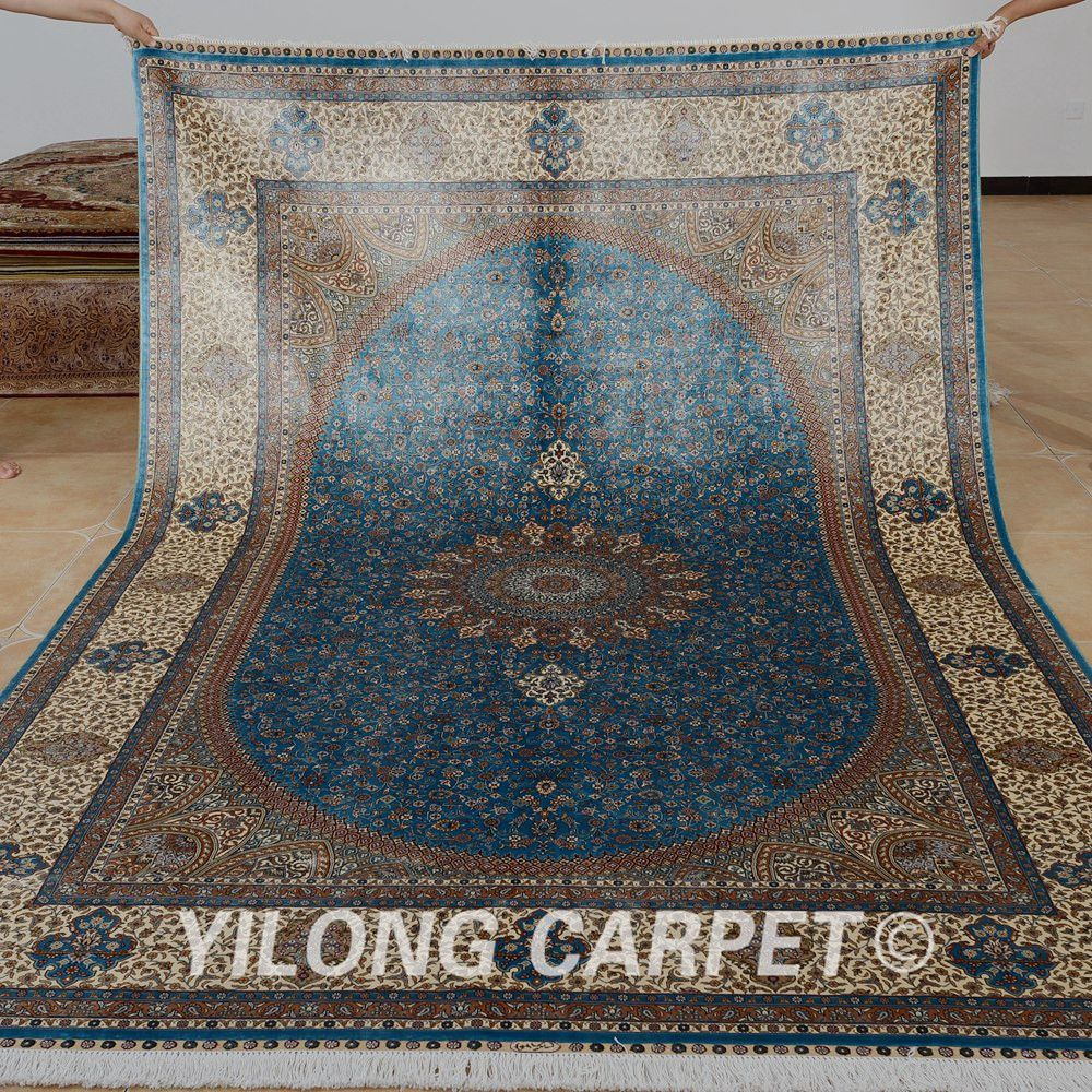 Yilong 6 56 X9 84 Oriental Handmade Rug Ocean Blue Turkish Silk Carpet Double