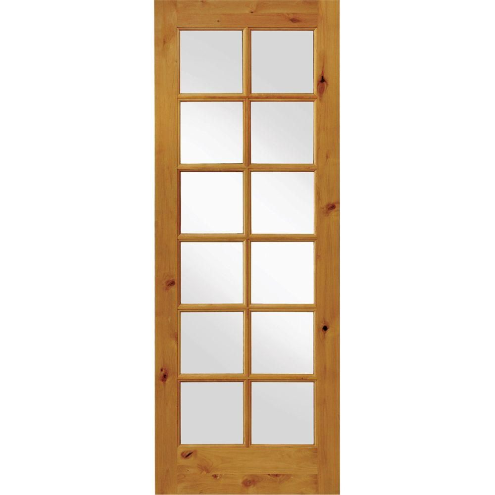 Krosswood Doors 24 In X 96 French Knotty Alder 12 Lite Tempered Gl Solid Wood Left Hand Single Prehung Interior Door Unfinished