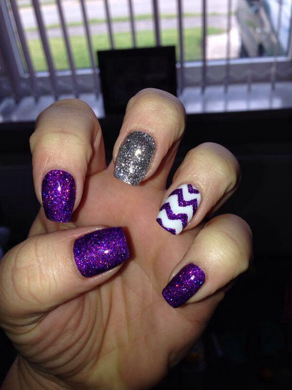 Bio sculpture gel purple glitter with nail art.