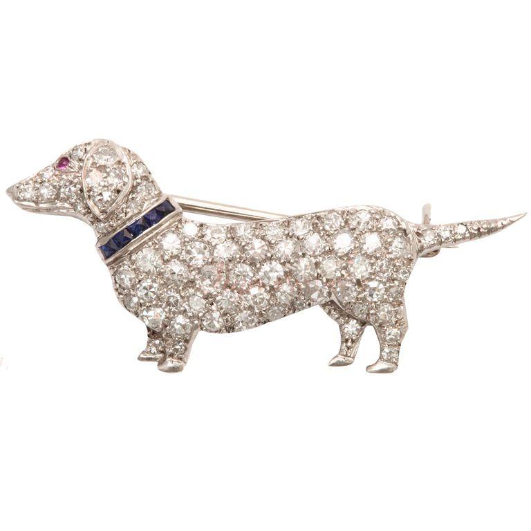 CARTIER Art Deco Diamond Dachshund Dog Brooch