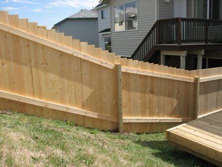 building fence on a slope with panels help please building construction diy chatroom. Black Bedroom Furniture Sets. Home Design Ideas